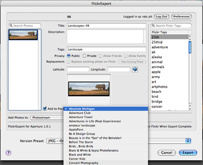 Flickr Export for Aperture 1
