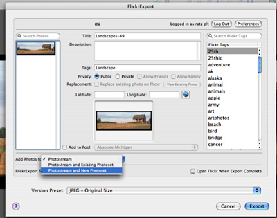 Flickr Export for Aperture 2